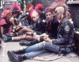 Homeless gutter punks with pink mohawks