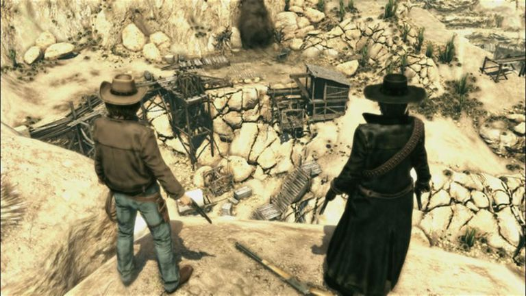 Two cowboys from Call of Juarez: Bound in Blood standing above a quarry