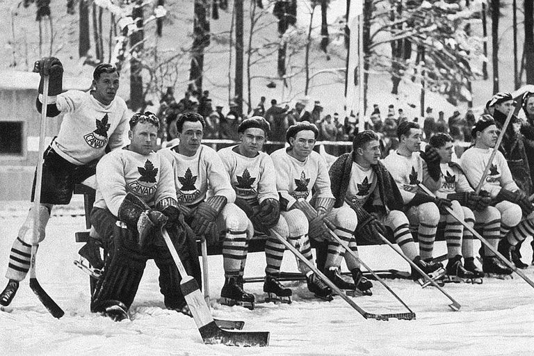 February 1936: The Canadian ice hockey team at the 1936 Winter Olympics at Garmisch-Partenkirchen. Canada won silver in the ice hockey tournament.
