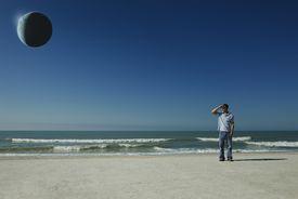 Eclipse on beach