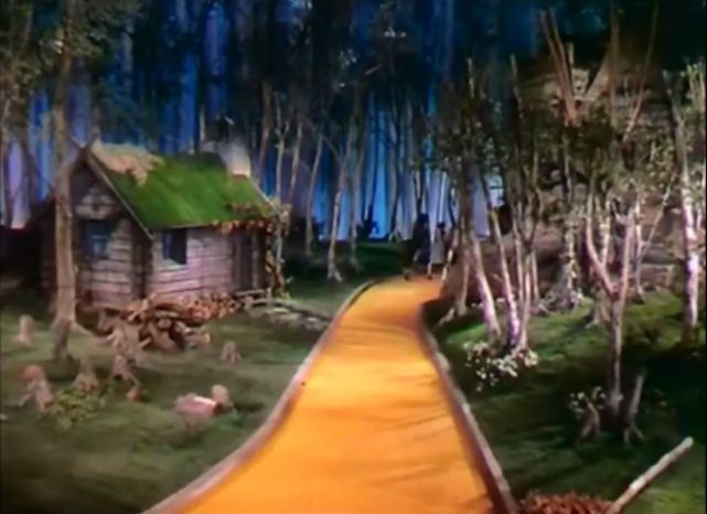 A still of the scene in 'The Wizard of Oz' that gave rise to the rumors of a suicide that took place on the movie set.