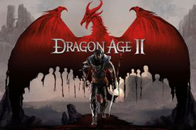 Dragon Age II promotional images with dragon and armored hero