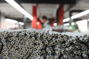 Pencils lie on a production line at the manufacturing plant