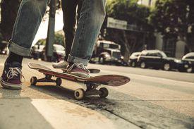 feet up close while skateboarding