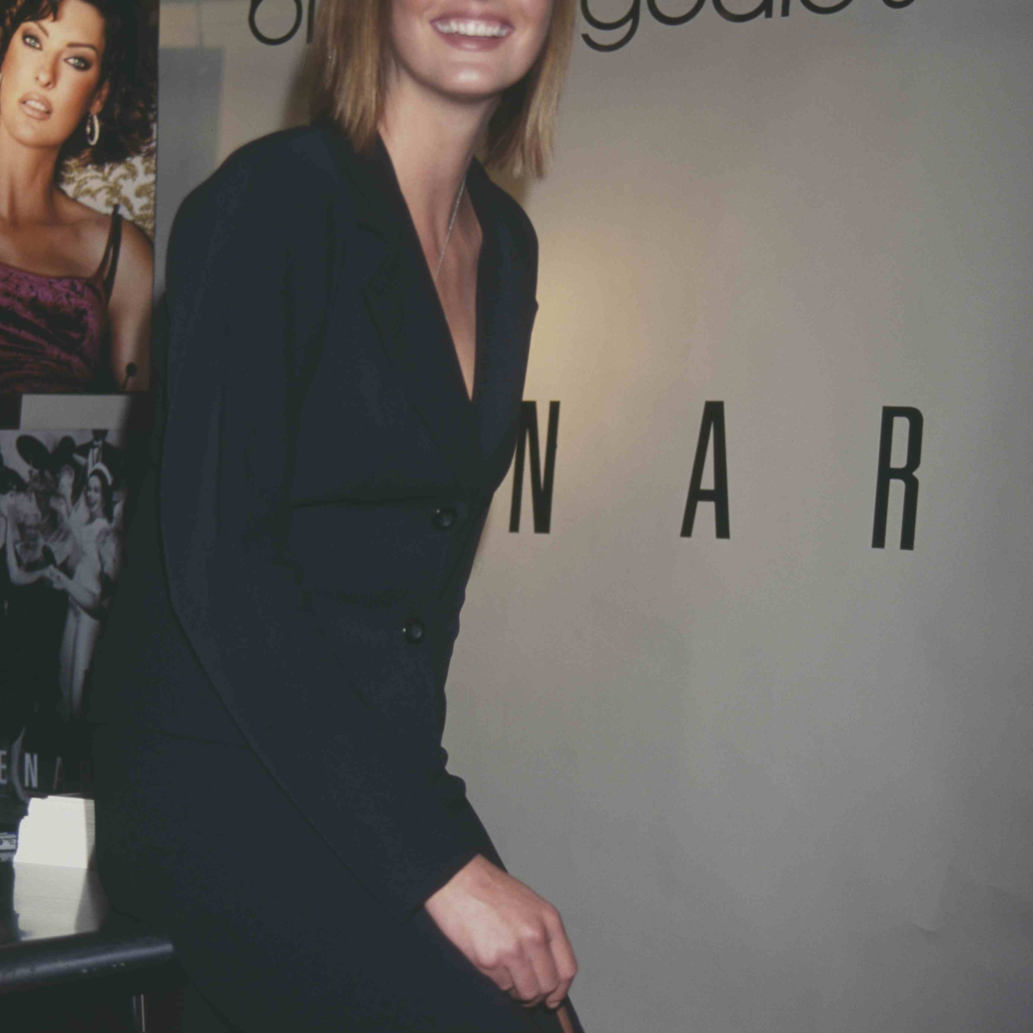 Canadian model Linda Evangelista attends an event for Kenar at Bloomingdale's department store, New York City, USA, circa 1997.