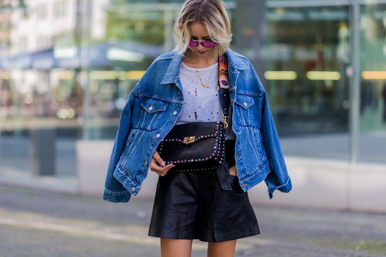 Street style jean jacket and skirt
