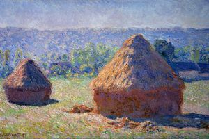Impressionistic painting of two haystacks by Monet