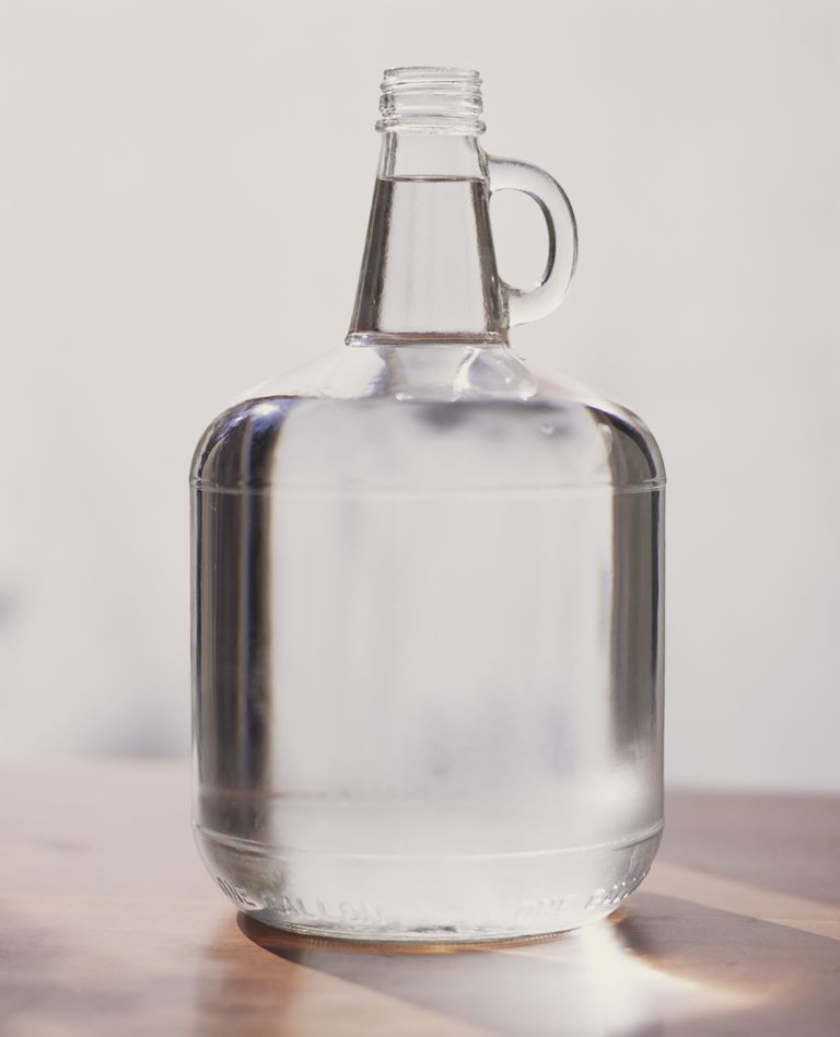 Clear glass jug of water