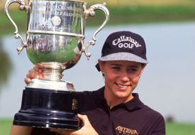 Annika Sorenstam with the trophy after winning the 1995 US Women's Open.