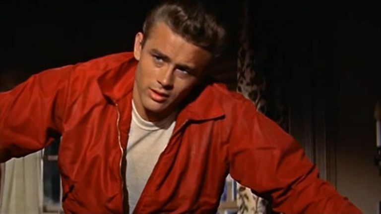 "James Dean in his windbreaker from ""Rebel Without a Cause"""