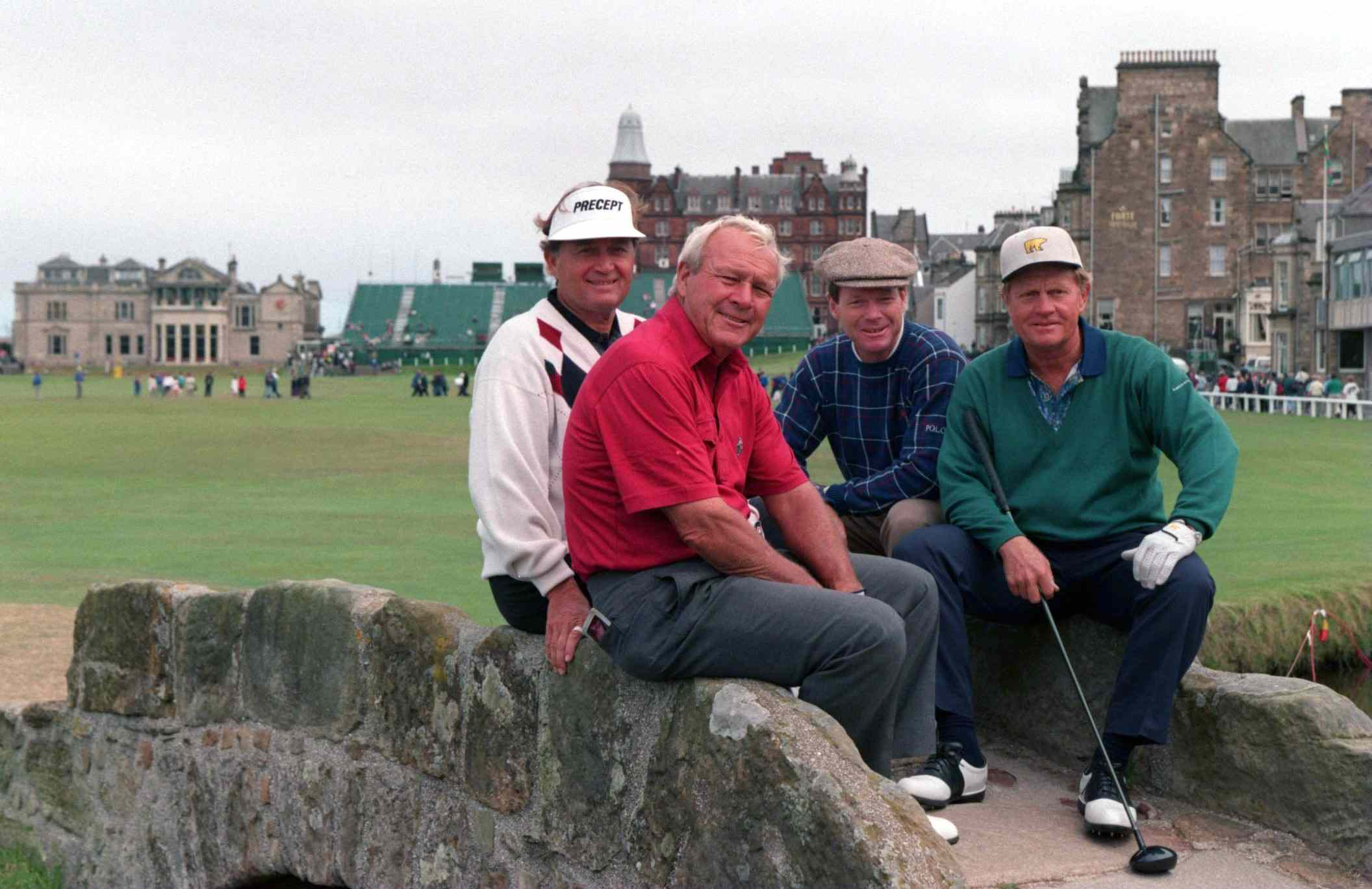 Four winners of the US Open pose together during a British Open practice round in 1995.