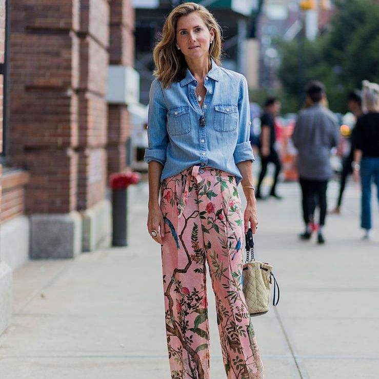 Street style denim shirt floral pants