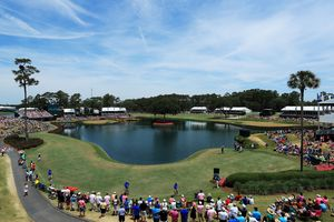 Panorama showing the 17th and 16th holes at TPC Sawgrass golf course.