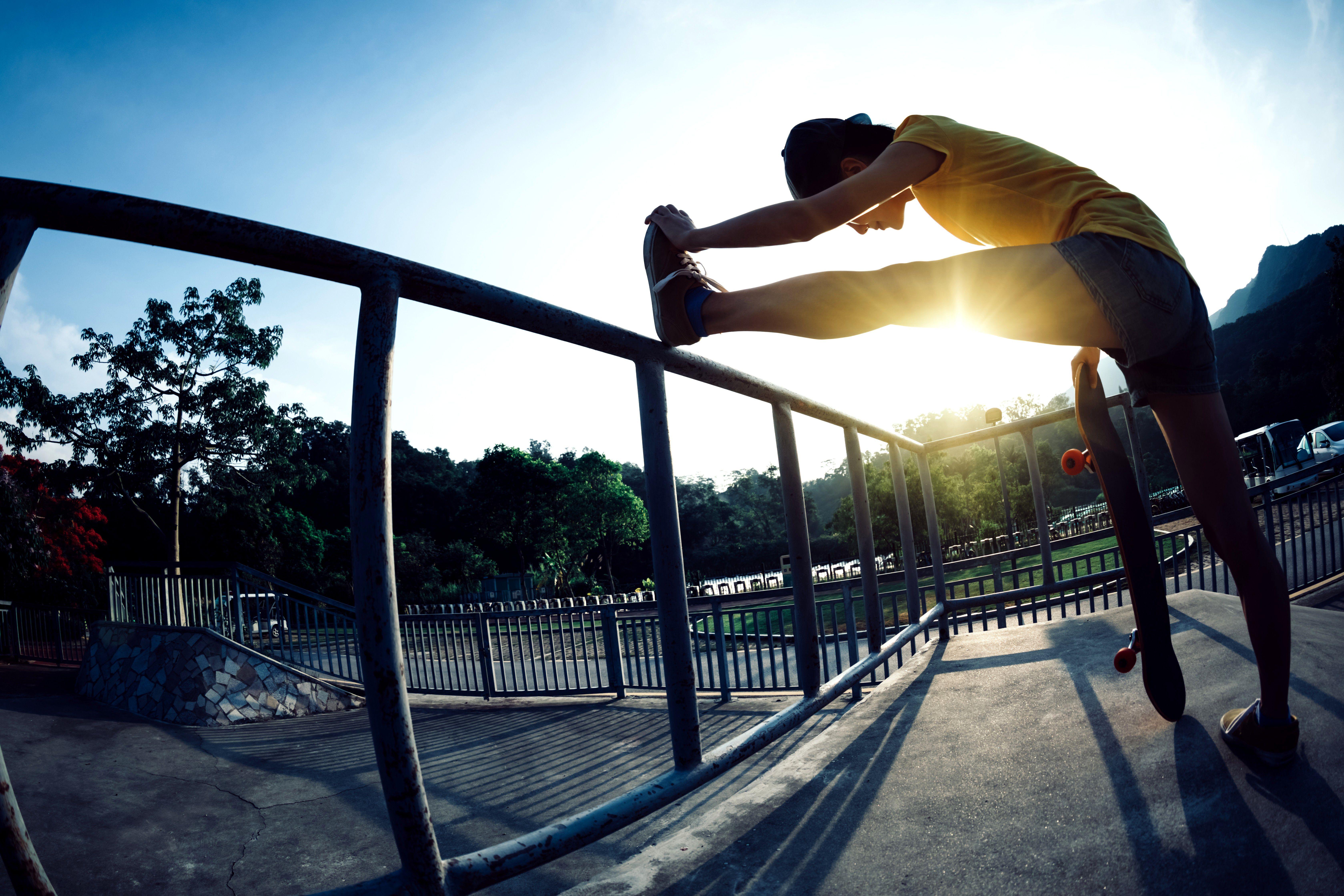 Limbering up at the skatepark