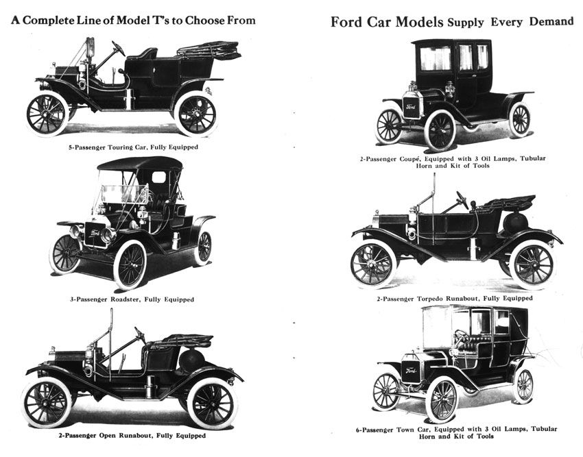 Ford 1911 Model T Lineup
