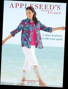 An Applseed's catalog cover with woman on a beach