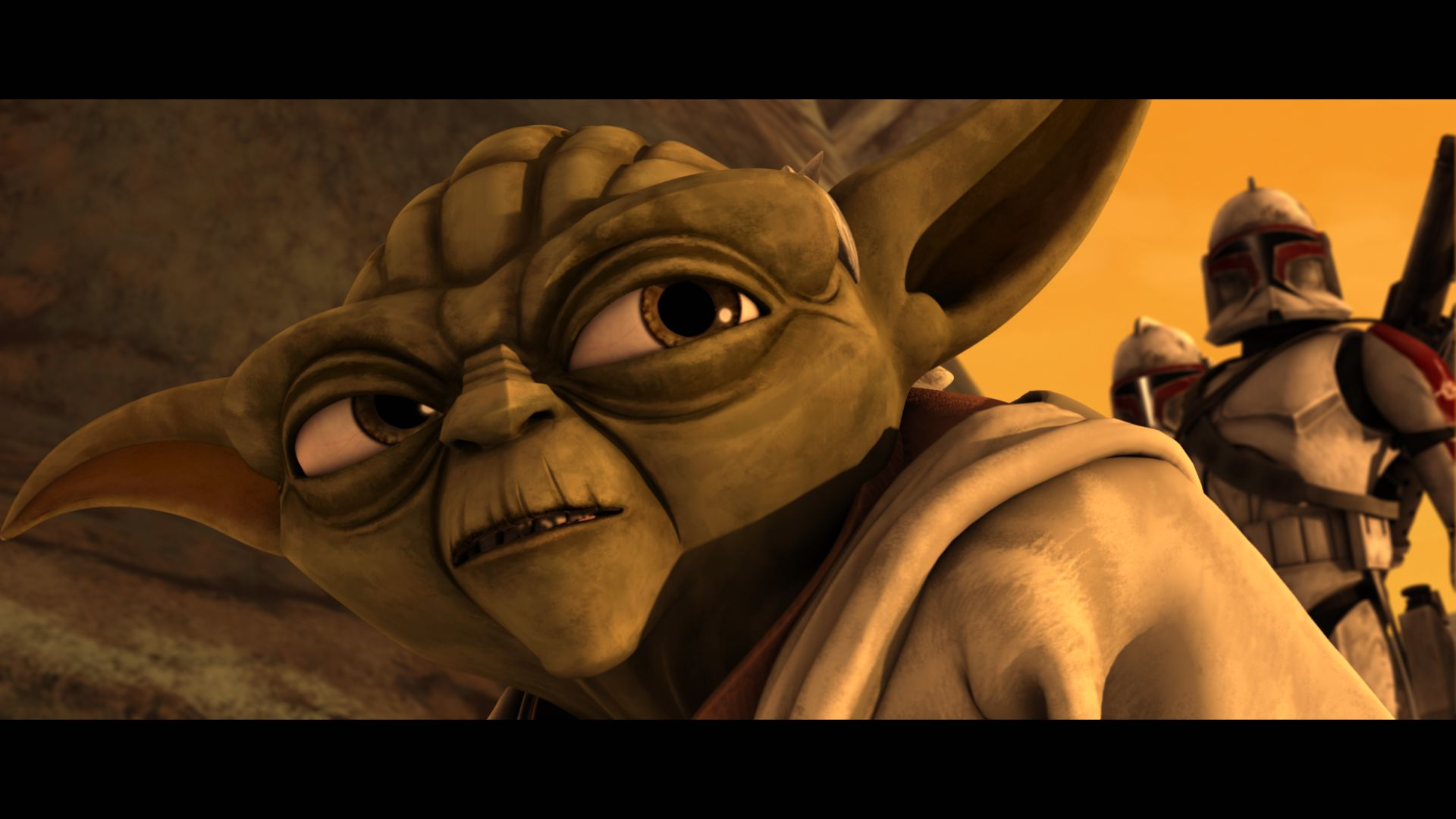 Still of Yoda looking up and to the right.