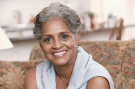 Woman with short gray hairstyle