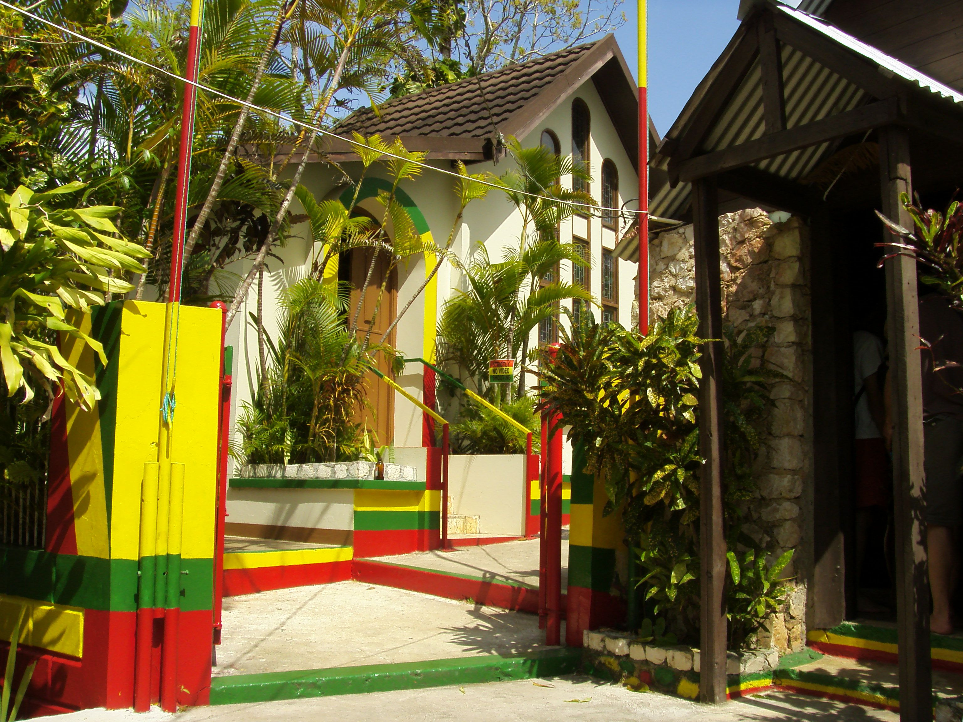 Access to the grave (left) and the house (right) of Bob Marley at Nine Mile