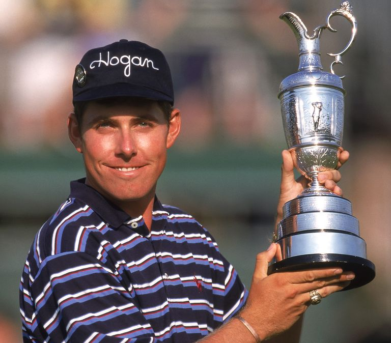 Justin Leonard shows off the Claret Jug after winning the 1997 British Open