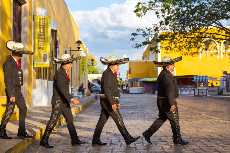 Mariachi crossing the street Beatles style, Mexico