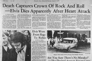 Newspaper headline reports Elvis Presley's death