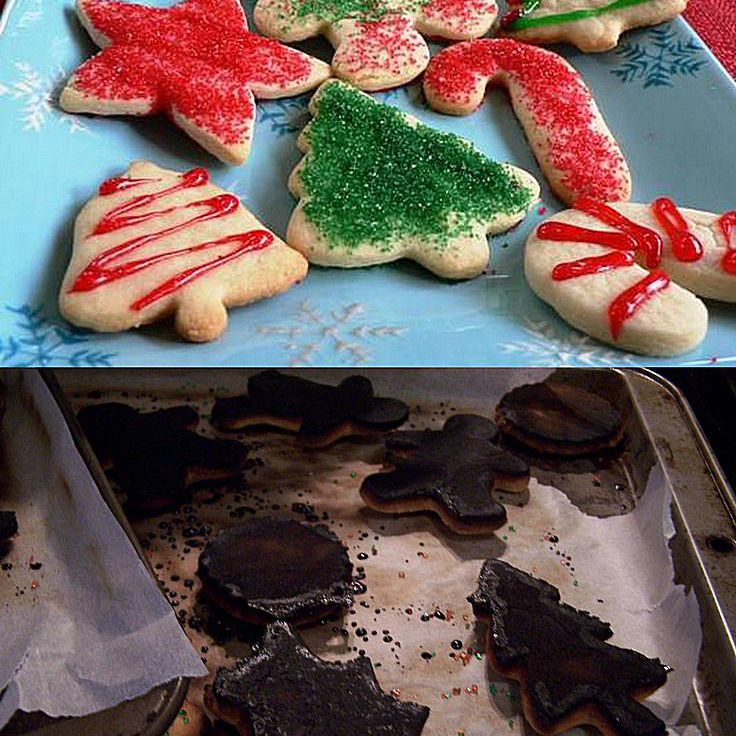 Comparison of sugar cookies and some burnt cookies