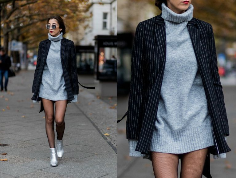 9d25c1a240 Wear a Turtleneck Sweater Dress With Tights and Ankle Boots