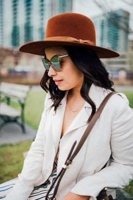 Lisa Rosado wearing Worth & Worth Hat