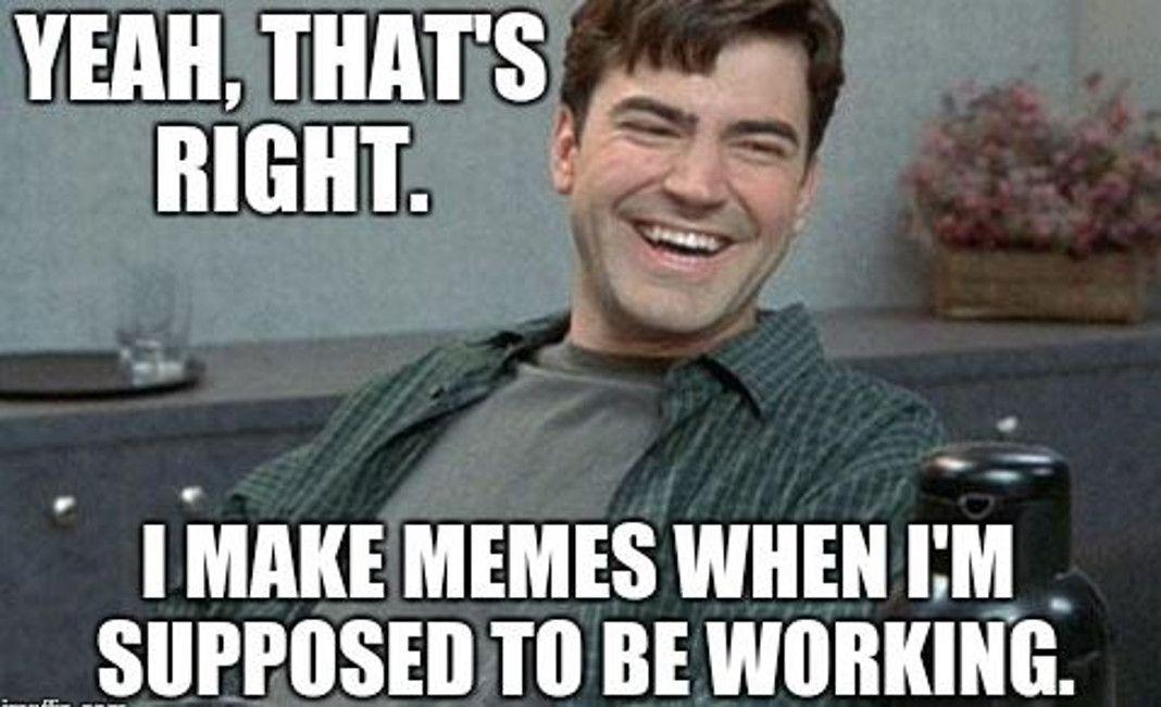 Making memes instead of working meme