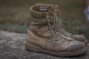 August 3, 2011 - A pair of combat boots belonging to a U.S. Marine Corps Sergeant