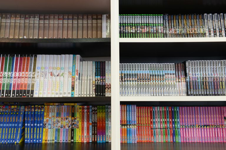 Bookshelves stocked with manga