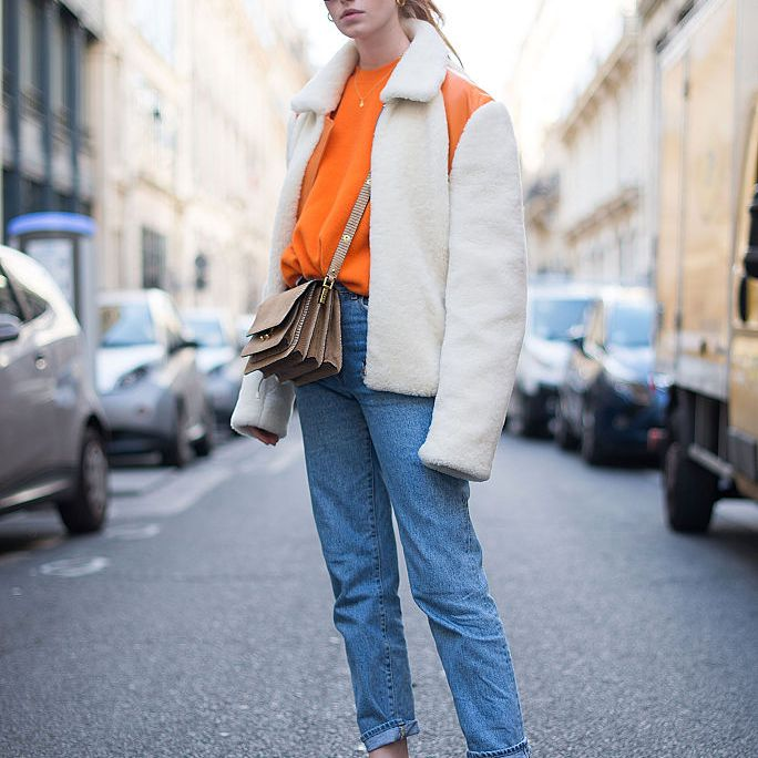 Winter street style in shearling and jeans