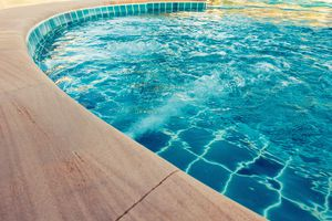 Smooth curve and water jets of swimming pool.