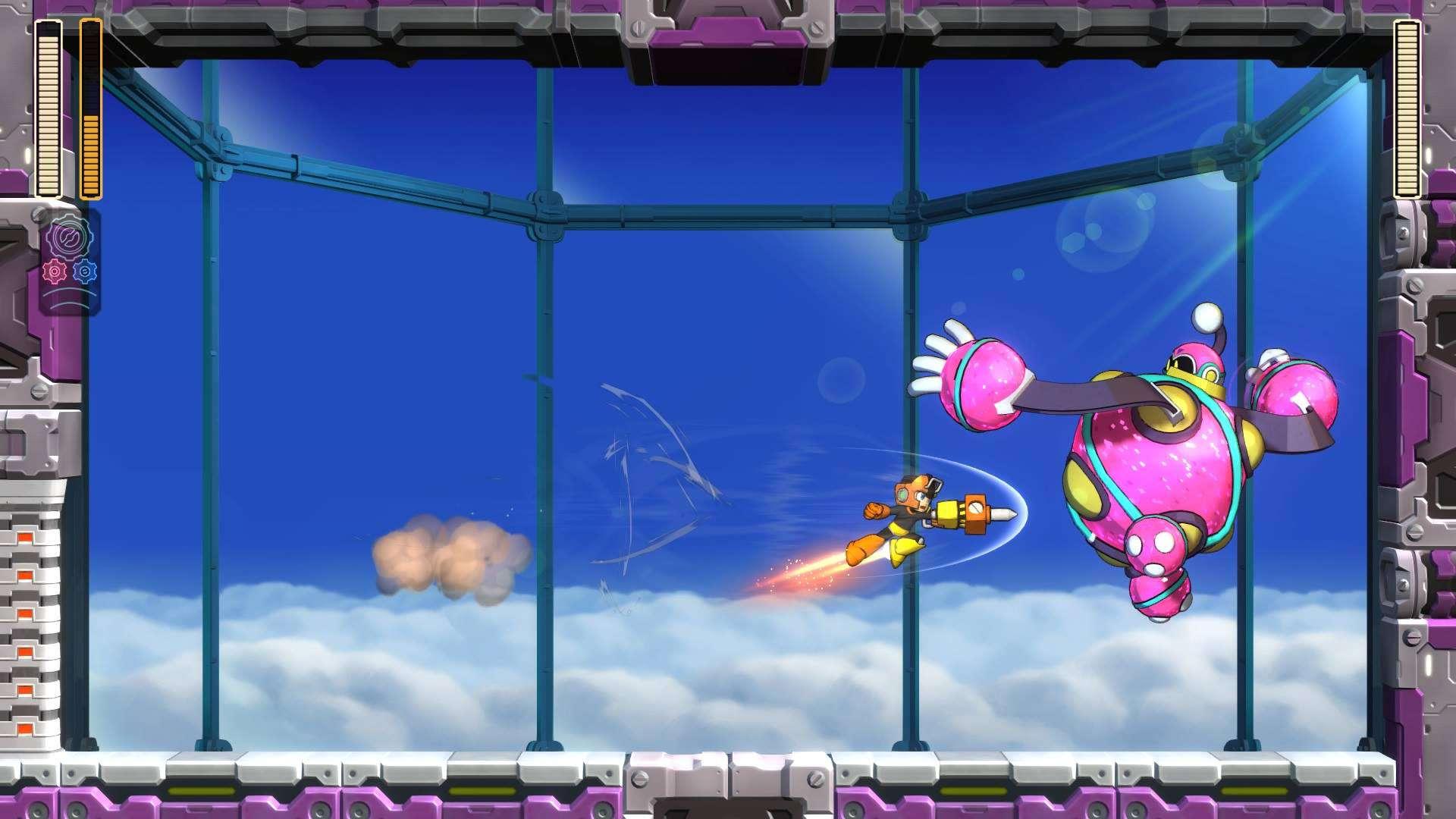 Mega Man attacks Bounce Man in Mega Man 11