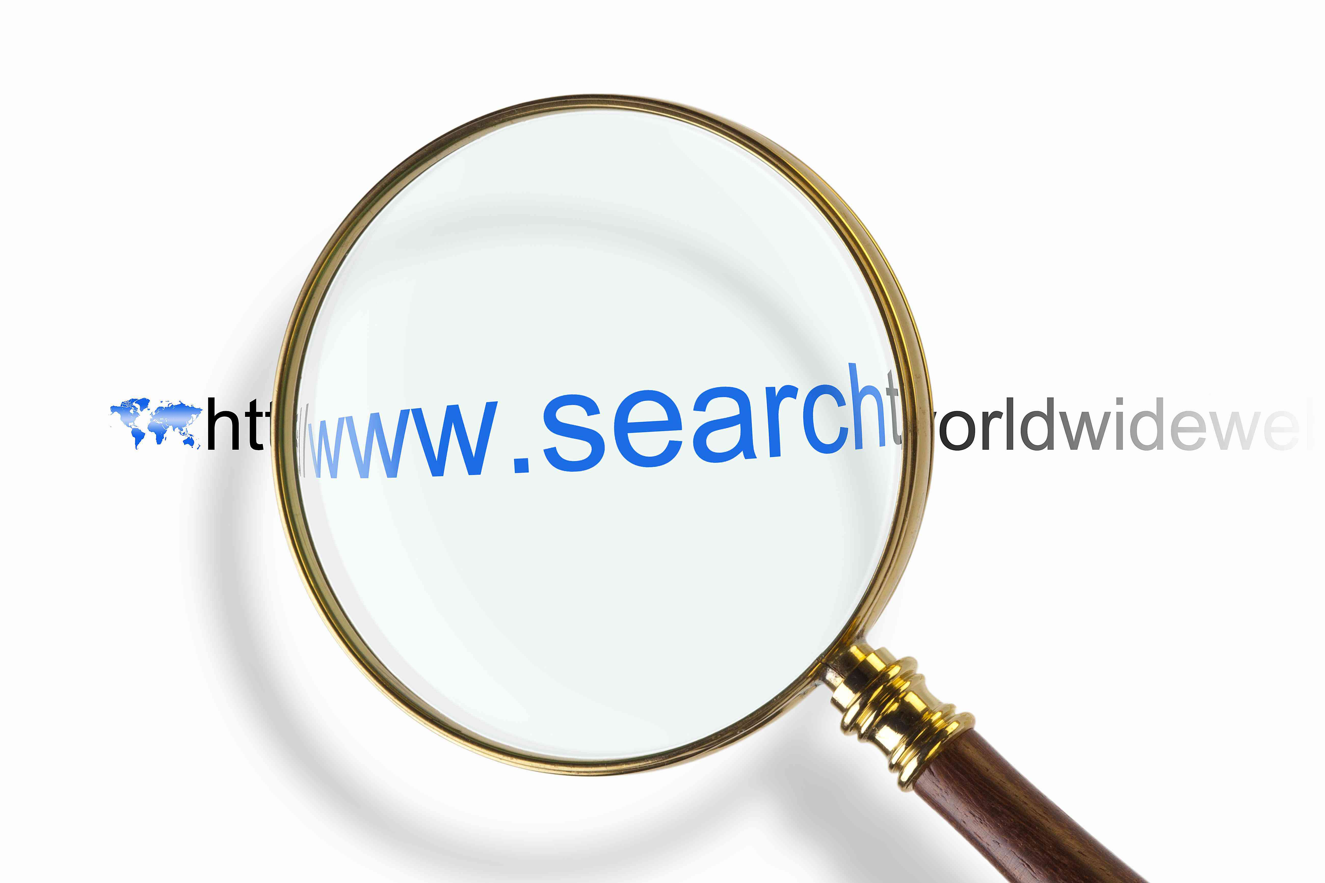 Magnifying glass, searching the internet