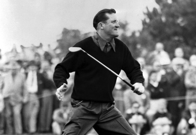 Golfer Tommy Bolt at the 1956 Los Angeles Open tournament.