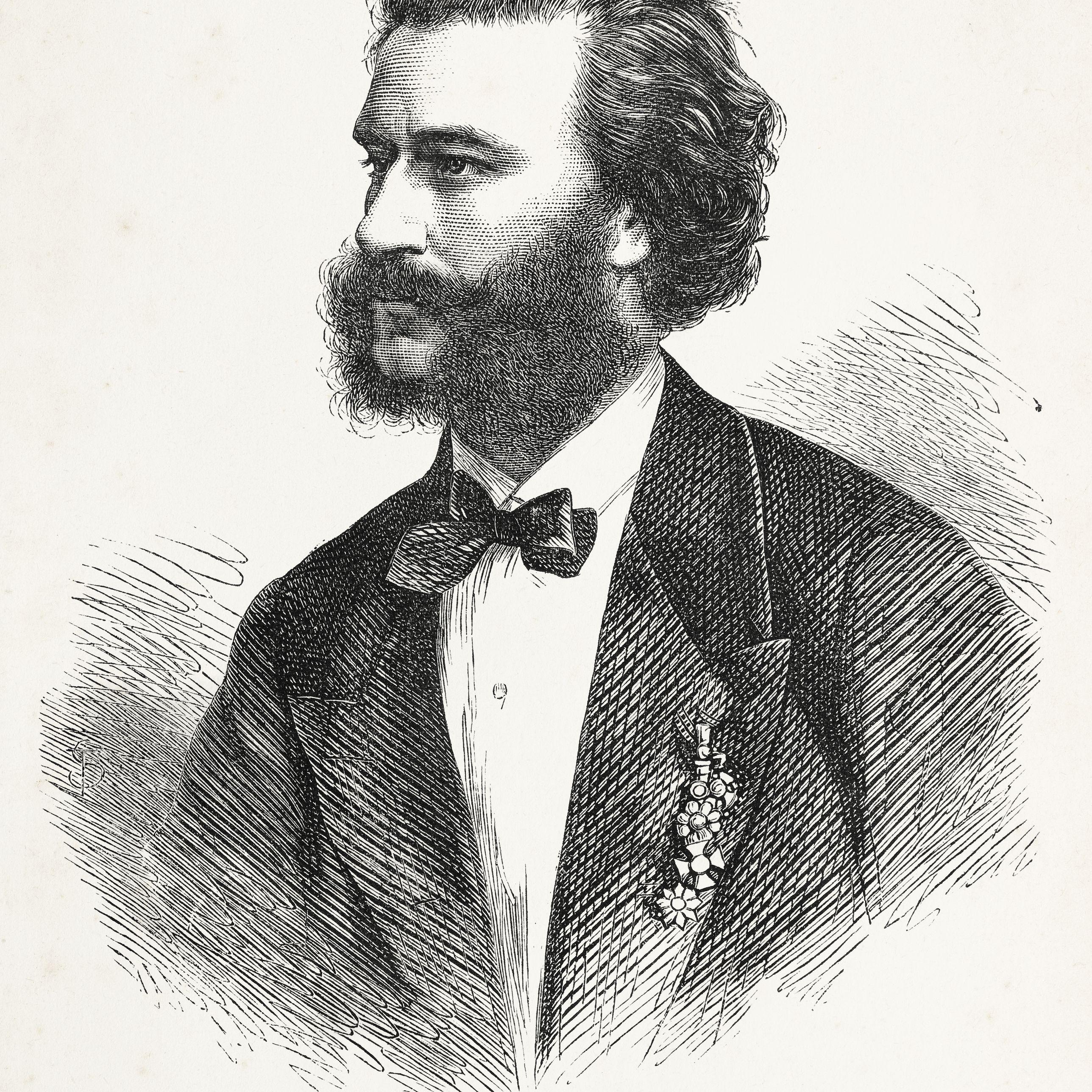 Engraving of austrian composer Johann Strauss from 1867