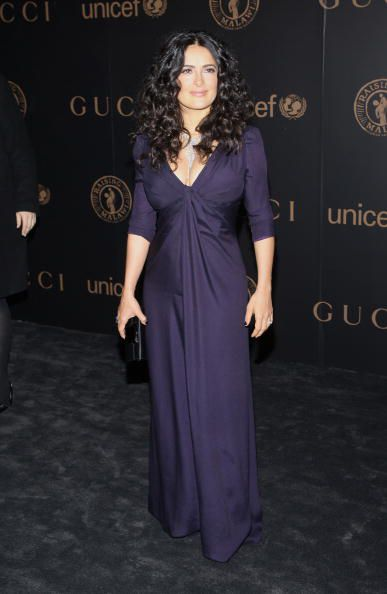 Salma Hayek Plays To Her Strengths In This Flattering Gathered But Simple Evening Gown Stephen Lovekin Getty Images