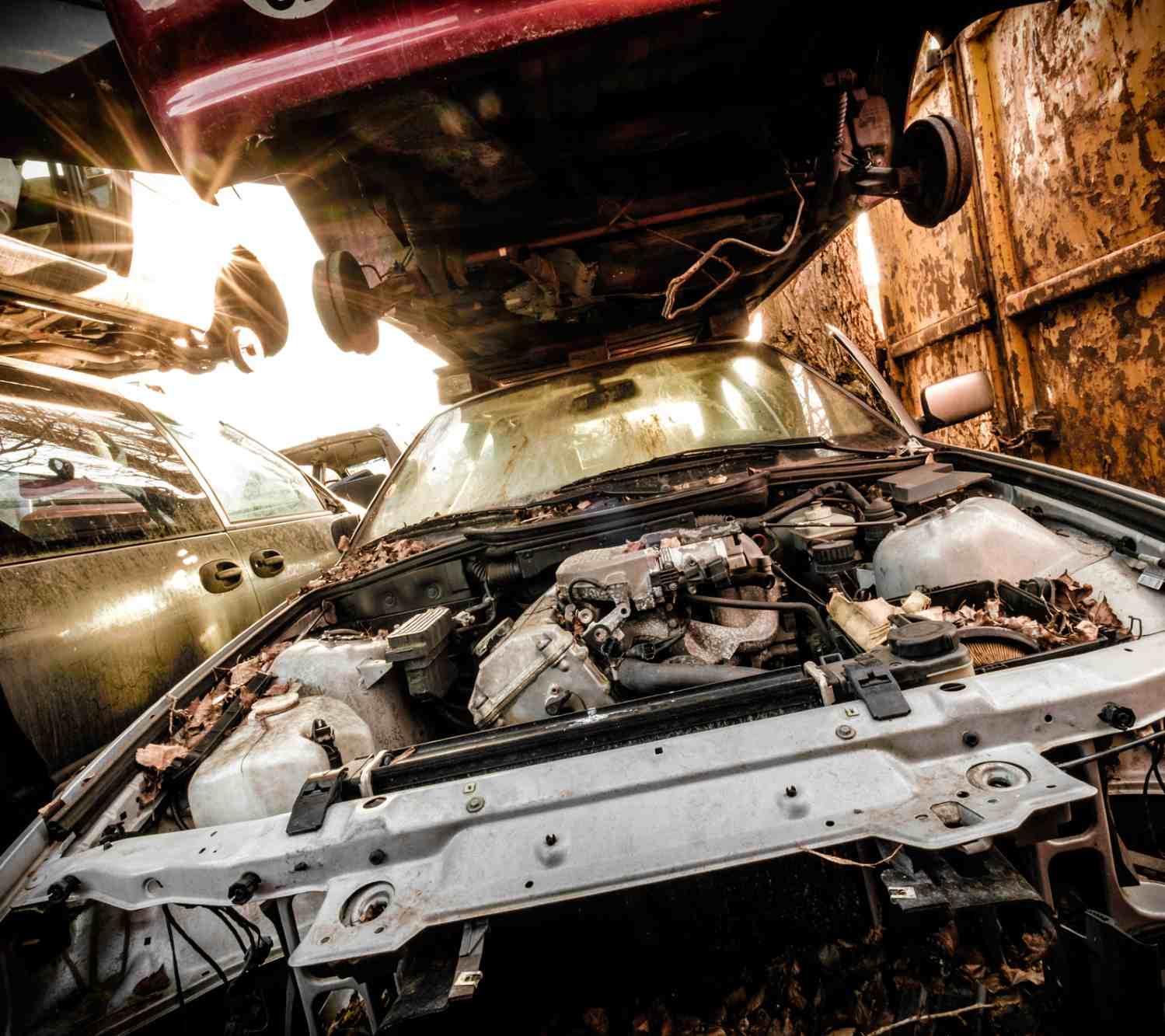 junkyard cars and engines
