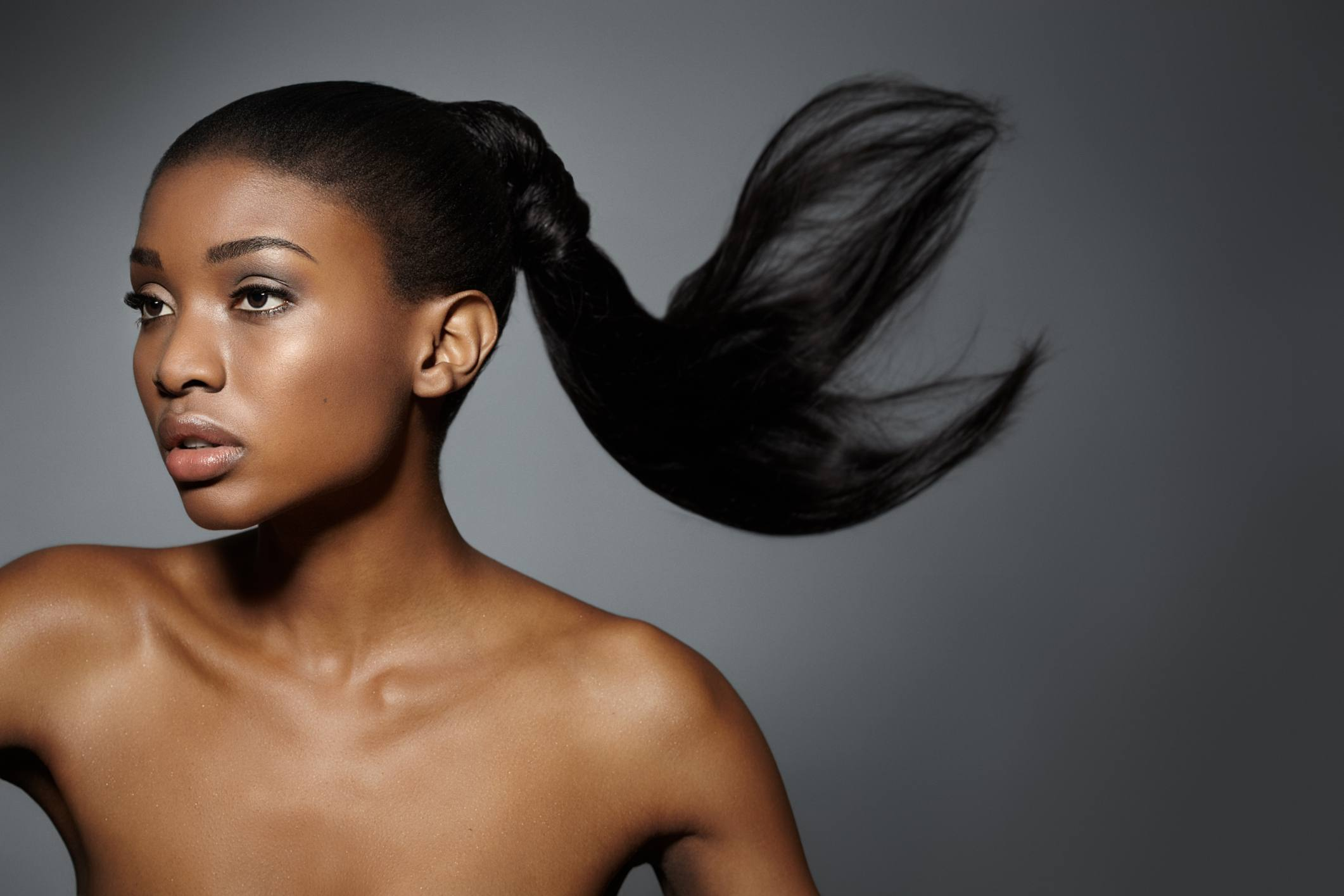 Model with her hair in ponytail