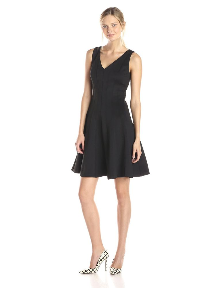 4460f5968e65 Calvin Klein Sleeveless V-Neck Fit and Flare Dress