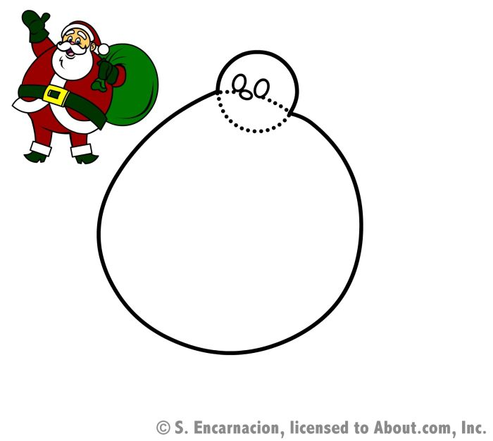 how to draw an outline of a cartoon santa claus to draw an outline of a cartoon santa claus