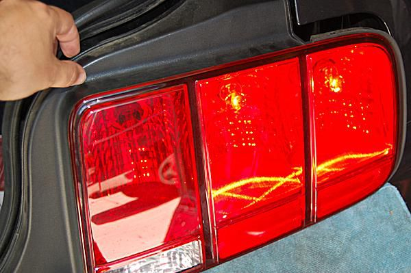 The taillight assembly on a 2008 Ford Mustang.