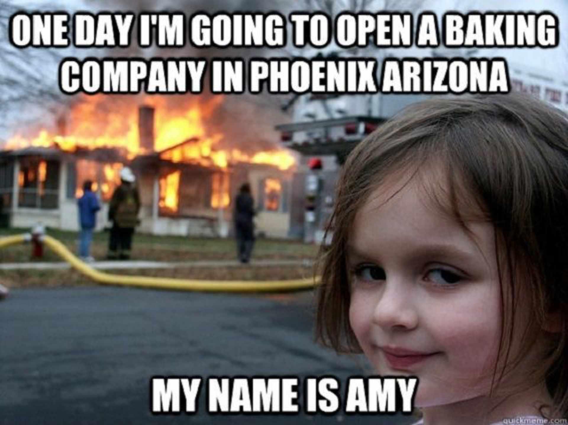 Meme of girl with burning house.