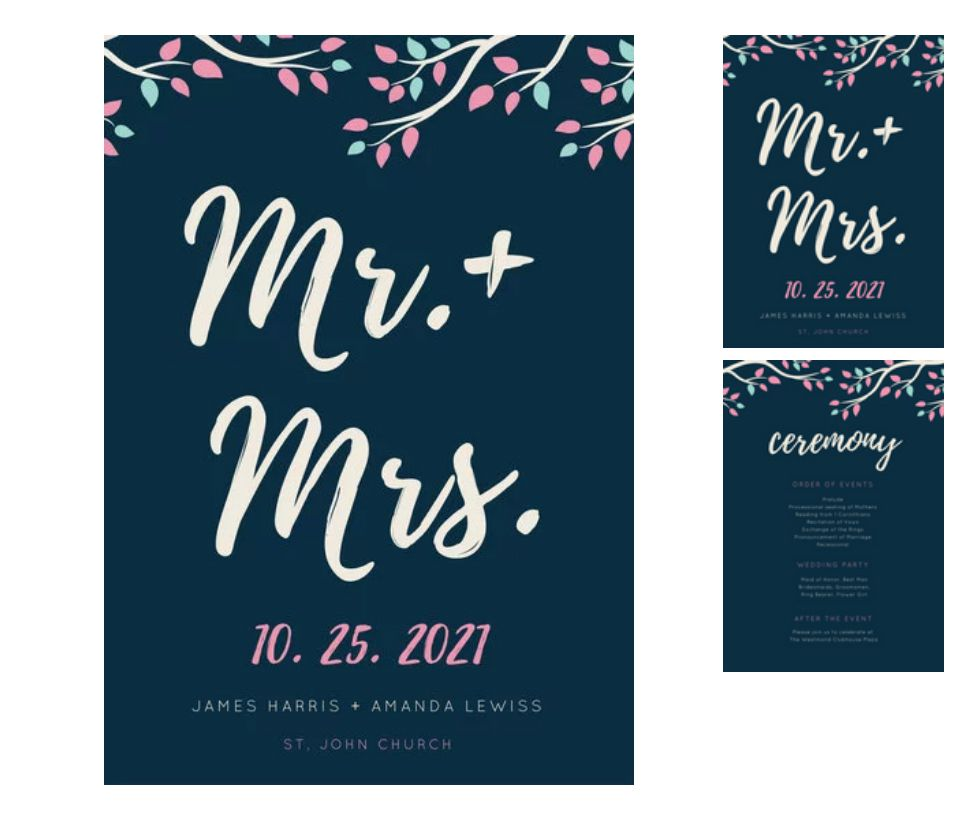 A blue and white floral wedding program template with a front and back