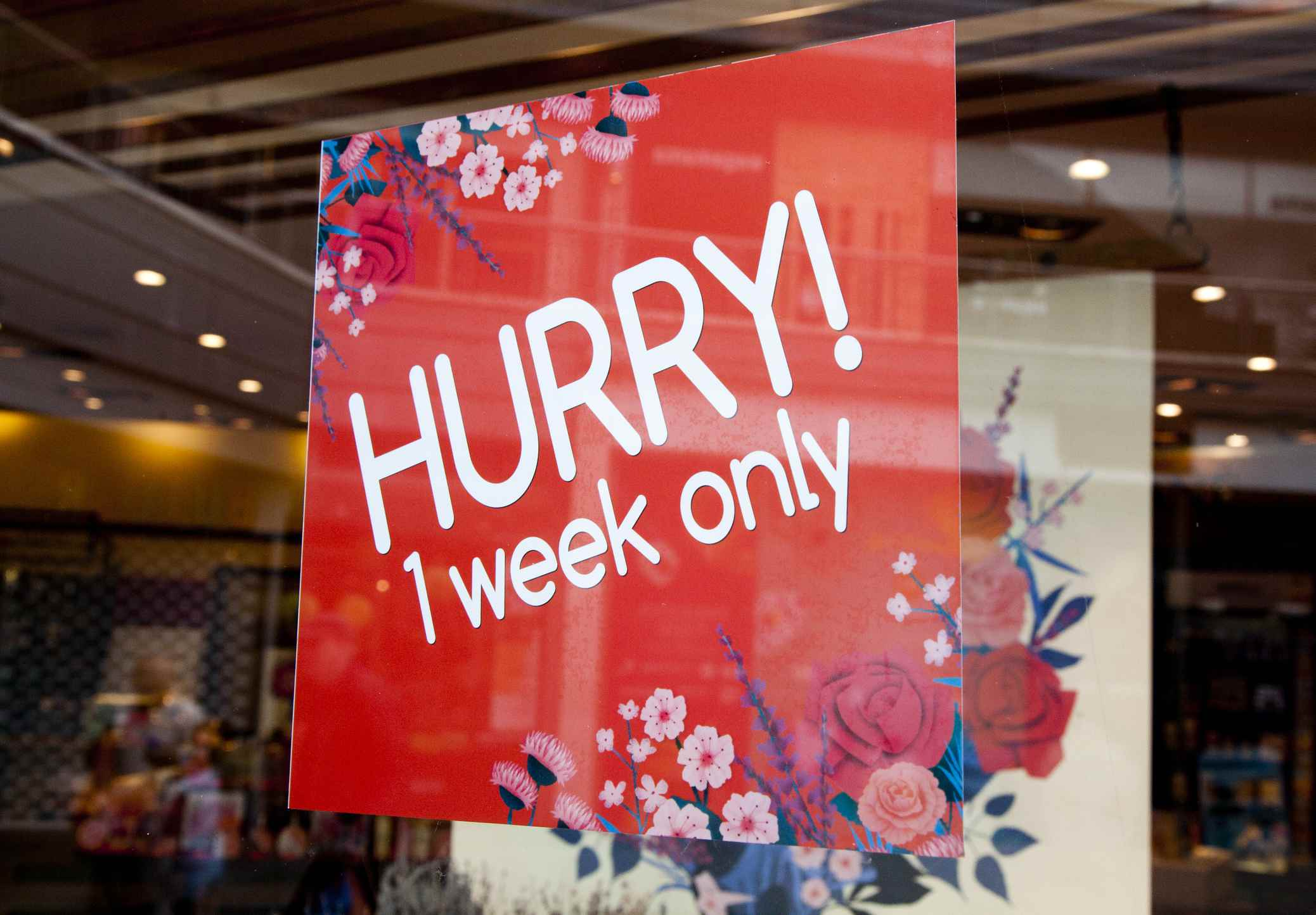 1 week only sale sign