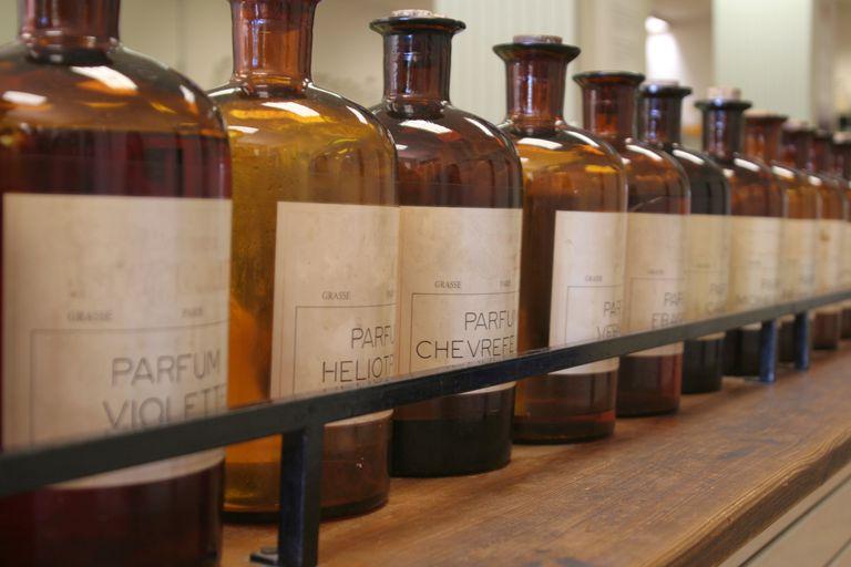 Bottles of ingredients for perfume