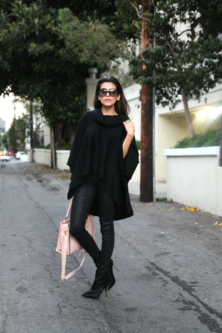787ce6ac249 Chic woman in black sweater and black jeans. Image from Sazan