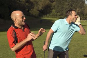 Golfer yells fore to warn others ahead to watch out for an errant shot